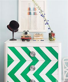 Chevron chest in the colour of the year Pantone emerald green brings the radiant shade to life.