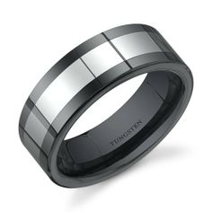 Flat Edge 8 mm Comfort Fit Mens Black Ceramic and Tungsten Combination Wedding Band Ring Size 8 to 13 Peora. $49.99