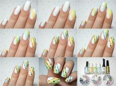 Pastel stripes with glitter and crystals on white nails