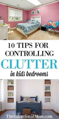 10 Tips for controlling clutter in kid's bedrooms. Organization Tips for Moms. How to keep your kid's room clean and organized! Declutter Your Home, Organizing Your Home, Organizing Tips, Organising, Home Design, Home Office, Pink Bedroom For Girls, Trendy Bedroom, Clutter Free Home