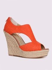 Seychelles Memories Linen Cut-Out Wedge in Coral