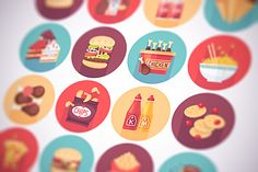Fast food, snack flat icons set by painterr on @creativemarket