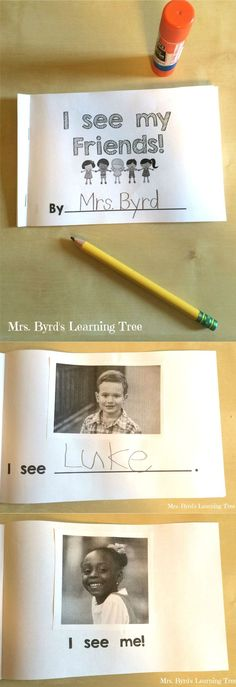 This little student made book is an absolute favorite all year long! It's a simple beginning emergent reader made by gluing photos of classmates and writing their names. Perfect for back to school in any kindergarten classroom. Happy teaching! $