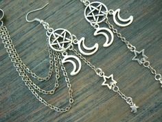 pentagram ear cuff earring chained set Triple moon ear cuff pentacle cuff in fantasy boho Wicca witch magic hipster style