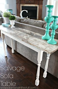 DIY Salvage Sofa Table | A Diamond in the Stuff