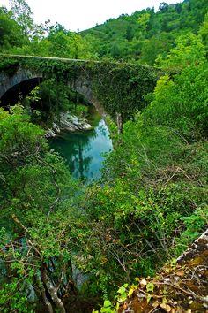 """Rio Sella, Puente de """"Los Grazos"""", Concejo de Amieva. Principado de Asturias. Spain.    [By Valentin Enrique]."""