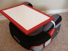 Add elastic loops to the back of a board for a removeable table on a carseat!
