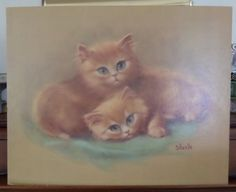 Such pretty little faces, perfect for a daughter's room. #childsroomdecor #blueeyedkittens #gotvintage Cat Art Print, Orange Tabby Cats, Vintage Art, Blue Eyes, Kittens, Cute Animals, Long Hair Styles, Art Prints, Wood