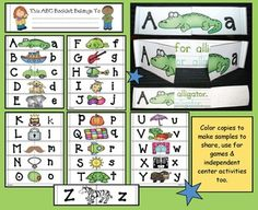 Alphabet activities: A new twist on the alphabet mini-flip booklet.  Comes in color to use as a center & for puzzles & games, as well as black line for children to make their own.