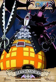 One Piece - Gekko Moriah Apodado Amo de las profundidades, era un miembro de los Shichibukai, quien residía en la isla flotante Thriller Bark cuando apareció por primera vez. Su recompensa anterior era de Berrys 320.000.000. Él es el antagonista principal del Arco de Thriller Bark.