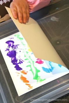 Folding paper with paint activity