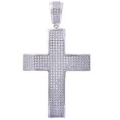 Hip Hop Cross Charm Cross Pendant Round Micro Pave Ice Cubic Zirconia Bling Men Women Unisex 925 Sterling Silver (58mm). Metal type: 92.5% sterling silver; Pendant Measurements : 58x33.5mm. Change the color to rose, yellow, black gold plated (extra charge). Gift box includes. Excellent gift.