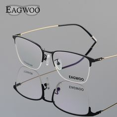 682e2202924 Best Price Eagwoo Titanium Eyeglasses Half Rim Optical Frame Prescription  Spectacle Wire Temple  Half