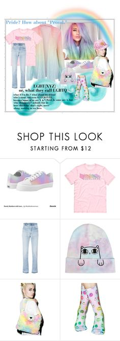 """""""how about """"Proud"""""""" by caroline-buster-brown ❤ liked on Polyvore featuring Toni&Guy, RE/DONE, Hot Topic, Pillow Pets, Living Royal and pride"""