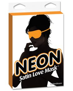Neon Satin Love Mask - Orange