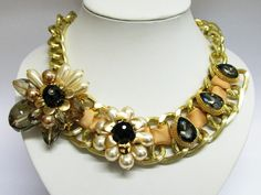 Faux Pearl With Crystal Glass Giant Flower And Ribbon In Chunky Rose Gold Chain Statement Necklace Black And White