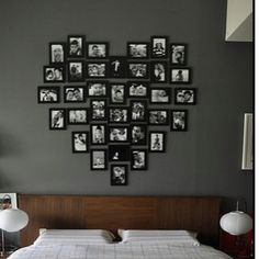 Arrange pictures in the shape of a heart, love for above bed in master bedroom