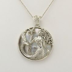 Sterling Silver Mermaid with Starfish Mother of Pearl Pendant