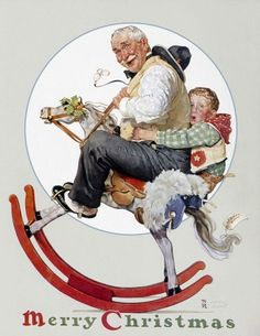 Norman Rockwell, Gramps on a Rocking Horse, The Saturday Evening Post, Dec. 16, 1933