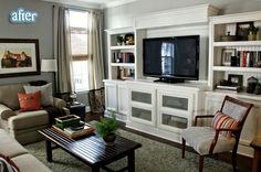 I want a white entertainment center like this in my family room!!  Beautiful!