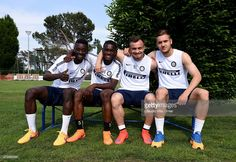 Assane Demoya Gnoukouri, Isaac Donkor, Xherdan Shaqiri and George Puscas attend FC Internazionale training session at the club's training ground at Appiano Gentile on May 14, 2015 in Como, Italy.
