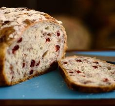 cranberry walnut bread baked in dutch oven - I used pecans instead - really good with a crispy crust!