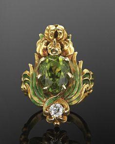 Green Enamel, Peridot And Diamond Flower Motif Ring By Marcus & Co.   c.1904   JV