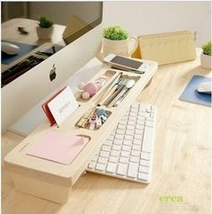 Check out this neat idea for your home office! Wooden Keyboard Shelf, Creative Home Office Organizing Ideas,