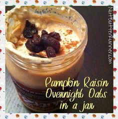 These were pumpkin raisin overnight oats that I made using 1/2 cup oats, 1/2 cup plain Greek yogurt, 1/4 cup pumpkin puree, 1/3 cup almond milk, 1 Tbsp chia seeds, 2 Tbsp raisins, cinnamon, and pumpkin pie spice. There was probably about a Tbsp of NuttZo left in the jar too!