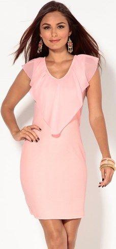 Vestido de punto sin mangas con volante rosa venca el-rosa