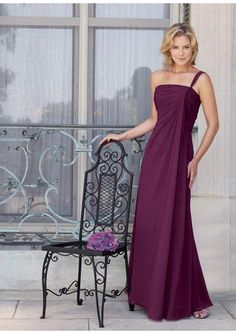 High quality 2015 Chiffon One Shoulder Ruched Grape Sleeveless Floor Length Mother of the Bride Dresses MBD0108 from Formalgirldresses.com Online Shop!