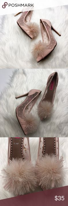 Betsey Johnson Polka Dot Pom Pom Heels Brand new and never worn. Some slight scuffs from store try ons. Size 8.5. Faux suede. Puff detail at the toe. No trades!! 01201830 Betsey Johnson Shoes Heels