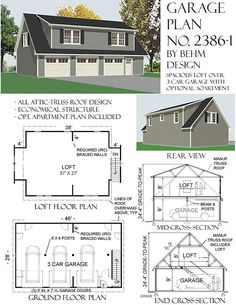 THREE CAR GARAGE WITH BIG LOFT HAS DOUBLE SHED DORMERS. INCLUDES OPTIONAL 2 BR APARTMENT