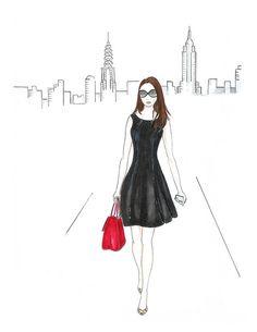 Custom fashion illustration custom blog header hand drawn by Zoia