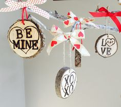 Valentine's day ornament  BE MINE  by HouseOfLogs on Etsy