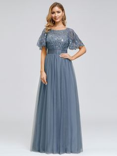 Ever-Pretty UK Ruffle Sleeve Long Bridesmaid Dress A-Line Evening Cocktail Gowns Party Dresses For Women, Prom Party Dresses, Evening Dresses, Bridesmaid Dresses, Occasion Dresses, Wedding Dresses, Stunning Dresses, Pretty Dresses, Azazie Dresses
