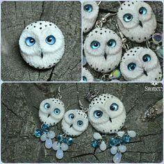Псс.. Не хочешь немного сов?)) Брошь, кулон и серьги  #snorky #polymerclay #polymer_clay #handmade #owl#owls#snowyowl #whiteowl #blueeyes #white#полимернаяглина #полимерная_глина #ручнаяработа #сова#совы#полярнаясова #белаясова #голубыеглаза #серьги#кулон#брошь