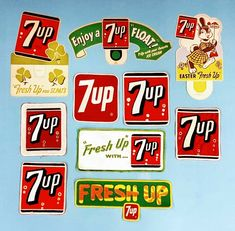 NOS 1950/'s Vintage Fresh Up with 7 UP Soda pop Decal Sticker for Glass