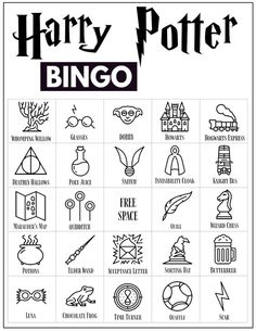 30 Harry Potter themed bingo cards for a Harry Potter themed party or classroom activity. Harry Potter Banner, Harry Potter Party Games, Harry Potter Activities, Harry Potter Symbols, Harry Potter Classroom, Harry Potter Printables, Harry Potter Halloween, Harry Potter Birthday, Harry Potter Art