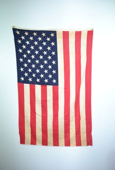 american flag hanging down
