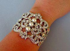 Rhinestone Pearl Wedding Cuff Bracelet