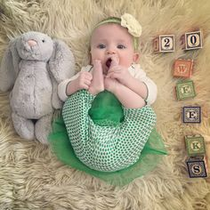 Simply Kimberly | Baby Milestone | Milestone Pictures | Weekly Baby Pictures | Watch Me Grow | Baby | St. Patrick's Day | St. Patrick's Day Baby | Baby Yoga