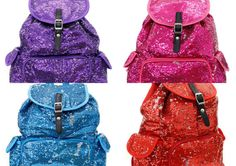 Sequin Diva Princess Backpack Personalized with ANy name, font and color you choose.  Pink Purple Red Blue on Etsy, $46.00