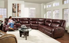 American Made Merritt LAY-FLAT Reclining Sectional Sofa - Leather or Microfiber #SouthernMotion #Transitional