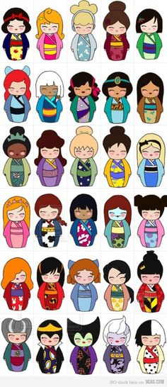 Disney ladies as kokeshi dolls?! I want them all!! ~snow white, aurora, cinderella, belle, mulan, ariel, kida, esmerelda, jasmine, pocahantas, tiana, meg, tinker belle, jane, alice, giselle, jessie, lilo, sally, boo, jessica rabbit, violet parr, wendy, melody, the queen of hearts, lady tremaine, the evil queen, malificent, ursula, and cruella