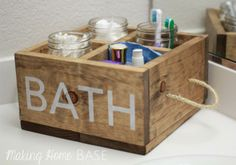 DIY Furniture : DIY Wood Caddy with Rope Handles for the Bathroom