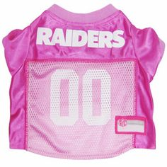 """""""RAIDER NATION!""""...TOUCH DOWN! Official Oakland RAIDERS dog Jersey in color Pink sizes XS-L (See Size Charts Below for Each Item) Licensed NFL Fan GameWear for your Furry Quarterback! Choose all of yo"""