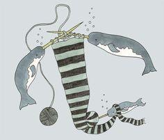 Sadly Harmless Illustration: knitting narwhals
