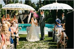Outdoor wedding ceremony in Spain, poolside wedding