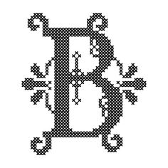 Cross Stitch Pattern Formal Letters for Initials  Letter B - Instant Download Epattern PDF File